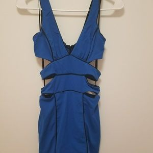 BEBE blue dress, long zipper in the back.